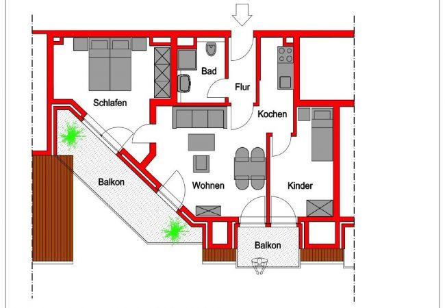 Ferienwohnung in Wangerooge (Nordseebad) - Strandvilla Marina 18, Balkon mit Meerblick